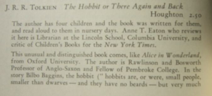 1938 Horn Book Magazine - The Hobbit