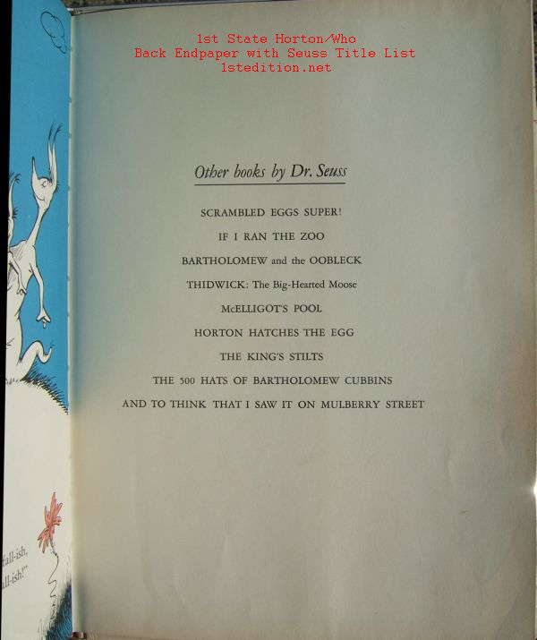 Dr. Seuss First Edition Identification