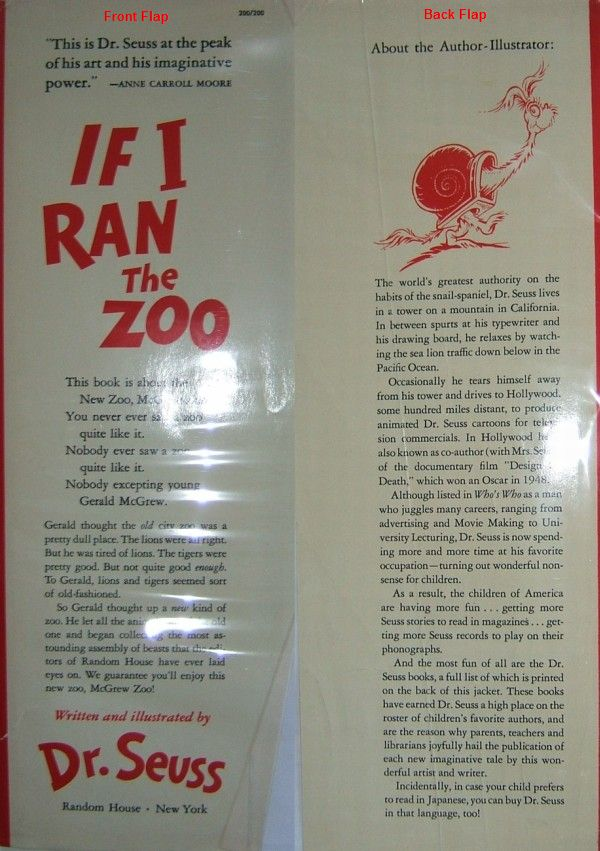 Dr. Seuss First Edition Identification If I Ran The Zoo DJ Flaps